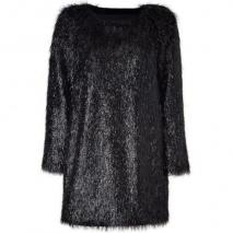 Jil Sander Black Allover Fringed Mini-Dress