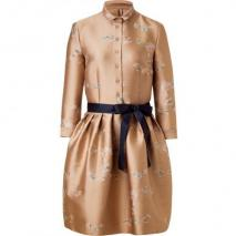 Jil Sander Navy Pale Rosé Belted Sateen Dress