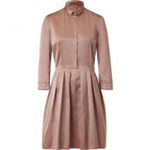 Jil Sander Navy Rosé Pleat Silk Sateen Dress