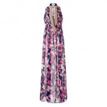 Jodé Eruini Maxi Kleid Blau-Weiß-Pink