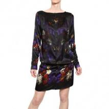 John Richmond Bedrucktes Seiden Satin Kleid