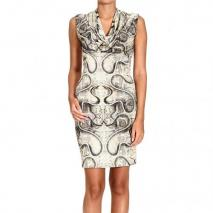 John Richmond Sleeveless jersey python print ring neck dress