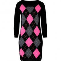 Juicy Couture Black Edie Argyle Wool Dress