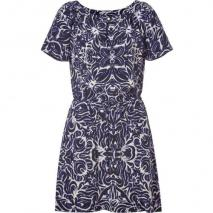 Juicy Couture Indigo Ikat Tile Printed Silk Dress