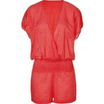 Juicy Couture Tomato Pretty Polka Cover Up Jumpsuit