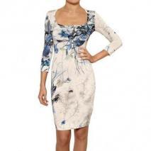 Just Cavalli Blumen Bedrucktes Shiny Viskose Jersey Kleid