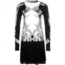 Just Cavalli Cocktailkleid / festliches Kleid noir mit weißem Muster