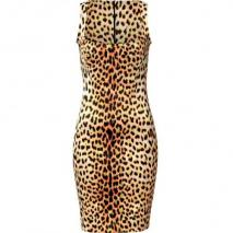 Just Cavalli Orange/Black Leopard Print Dress
