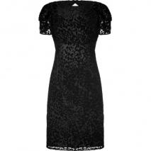 LAgence Black Burn-Out Velvet Leopard Print Backless Dress