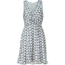 LAgence Black/White/Grey Draped Silk Dress