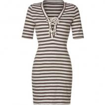 LAgence Brown/Ivory Striped Lace Front Dress