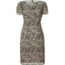 LAgence Earth/Granite Burn-Out Velvet Print Dress