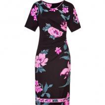 Leonard Black/Orchid Printed Draped Silk Dress