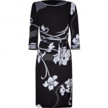 Leonard Black/White Art Deco Printed Silk Dress