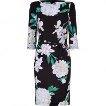 Leonard Black/White Orchid Printed Silk Dress