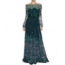 Luisa Beccaria Swarovski Auf Bedruckten Seiden Chiffon Kleid