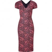 LWren Scott Coral/Black Flower Lace Dress