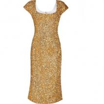LWren Scott Gold Silk Sequined Mid-Length Sheath