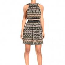 M Missoni Sleeveless v neckline behind lurex waves dress