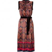 Marc by Marc Jacobs Dark Brown/Multicolor Wonderland-Print Silk Dress