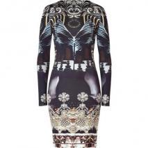 Mary Katrantzou Black/Pearl Crystal Print Nebraska Silk Dress