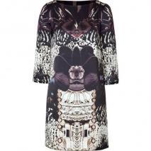 Mary Katrantzou Black/Pearl Printed Silk Shift Dress