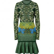 Mary Katrantzou Malachite Expandit Camo Skater Knit Dress