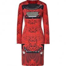 Mary Katrantzou Red/Black Typewriter Print Silk Dress