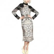 Mary Katrantzou Woll Jacquard Strick Kleid