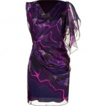 Matthew Williamson Black/Bordeaux Draped Silk Dress