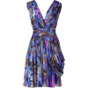Matthew Williamson Blue Draped Silk Chiffon Dress