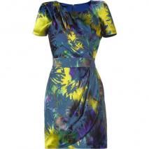 Matthew Williamson Multi Color Printed Drape Shoulder Dress
