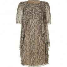 Matthew Williamson Natural Beaded Frill Silk Dress