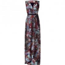 Matthew Williamson Rust/Multi Color Feather Printed Maxi Dress