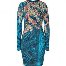 Matthew Williamson Turquoise/Mint Printed Draped Jersey Dress