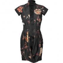 Maxime Simoens Black Floral Silk Dress