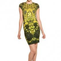 McQ Alexander McQueen Bedrucktes Jersey Stretch Kleid Mit Cap Ärmeln