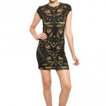 McQ Alexander McQueen Bedrucktes Jersey-Stretch Kleid Mit Cap Ärmeln Grün