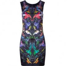 McQ Alexander McQueen Black Humingbird Print Sleeveless Silk Dress
