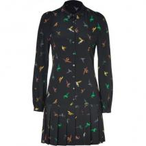 McQ Alexander McQueen Black Hummingbird Print Silk Shirtdress