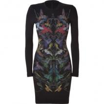 McQ Alexander McQueen Black Hummingbird Print Sweatshirt Dress