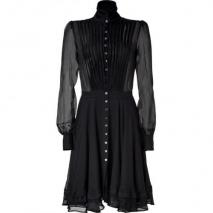 McQ Alexander McQueen Black Sheer Raw Edge Silk Dress