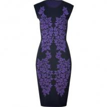 McQ Alexander McQueen Iris/Black Leaf Knit Dress