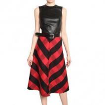 Michael Kors Leder & Doppelseitiges Cashgora Kleid
