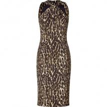 Michael Kors Leopord Print Twisted Halter Dress