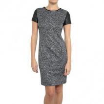 Michael Michael Kors Leder & Tweed Kleid