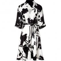 Milly Black and White Belted Siilk Dress