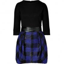 Milly Black/Heliotrope Blue Bryn Combo Dress with Leather Waistband