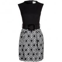 Milly Jerseykleid ecru/black