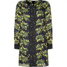 Milly Onyx/Jade Art Deco Printed Lace Trimmed Silk Dress